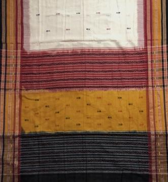 Multicolour Border Fish Motifs Cotton Kathiphera Saree with Blouse Piece