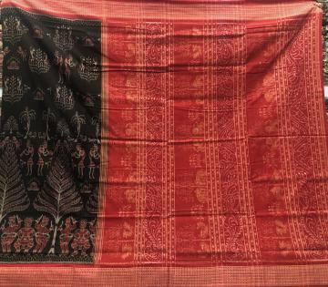 Tribal Life Body with Animal Motifs Aanchal Cotton Ikat Saree with Blouse Piece