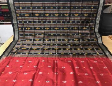 Red and Black Firbi Bomkai Silk Saree with Blouse Piece