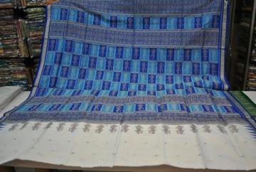 Orissa Handloom Bomkai Saree Sari in White Blue with Doll design in Aanchal