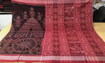 Temple Theme  Cotton Ikat Saree with Blouse Piece