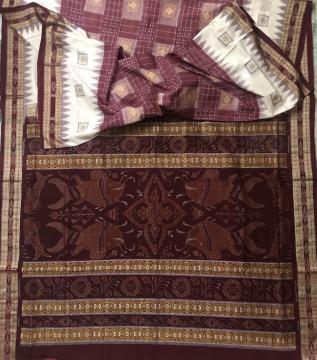 Fish motifs Aanchal Bomkai and Ikat work Cotton Saree with Blouse Piece