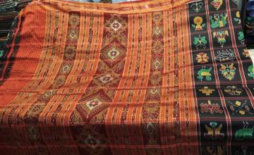 Traditional Black and Red Nabakothi Khandua Silk Saree without Blouse piece