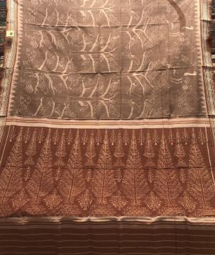 Master weaver s Creation Natural Dyed Light weight Ikat Silk Saree with Blouse Piece
