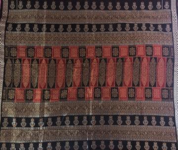 Pot motifs and all over Bomkai work Silk fabric
