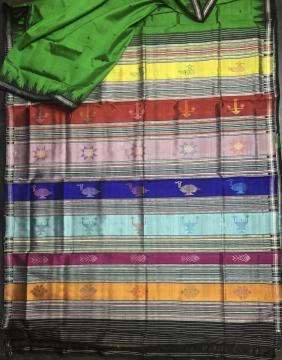 Exquisite Multicolor Aanchal Phoda kumbha Border Berhampuri Silk Saree with Blouse piece