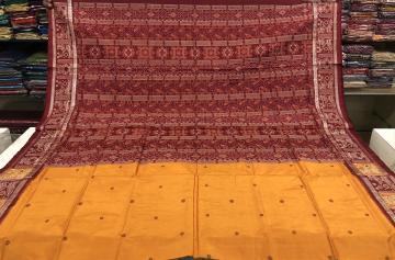 Worship lady and pot motifs Border with Ikat Aanchal Silk Saree with Blouse Piece