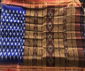 All over Ikat Weave Patli Khandua Silk saree without Blouse