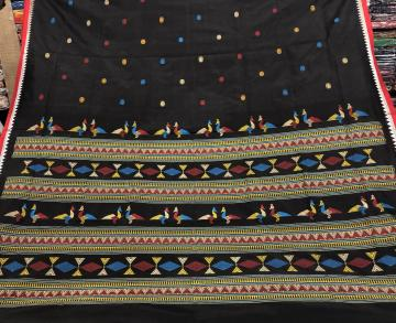 Siminoi motifs inspired Ganjam Bomkai Silk Saree with Blouse Piece