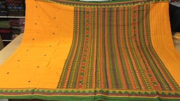 Beautiful Yellow and Green Cotton Dongria Saree