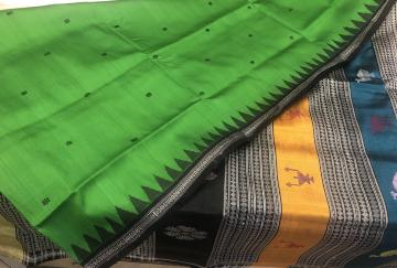 Multicolour Aanchal with tradition motifs Berhampuri Silk Saree with Blouse Piece