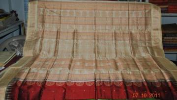 Orissa Handloom Bomkai Saree Sari in Maroon