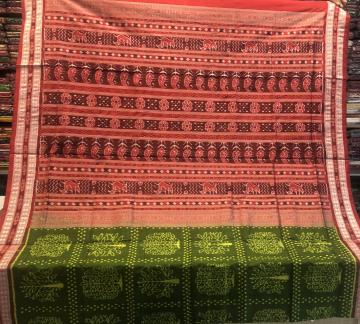 Master weaver s creation intricately Woven Tree Motifs Ikat Silk Saree with Blouse Piece