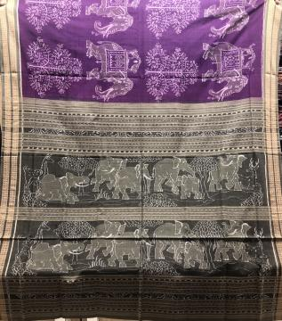 Exclusively Woven Elephant motifs Cotton Ikat Saree with Blouse Piece