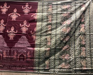 Temple Motifs with dancers Intricately woven cotton Ikat Saree with Blouse piece