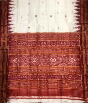 Traditional Khandua Silk Ikat Saree without Blouse Piece