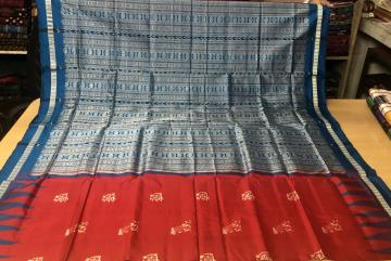 Miniature huts and rain motifs Silk Bomkai Saree with Blouse Piece