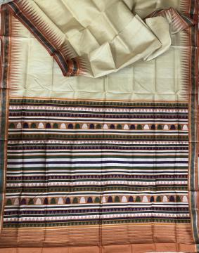 Dongria Tasar Silk Saree with Blouse Piece
