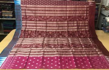 Ganga Jamuna Border All over Ikat work Silk Saree with Ikat work Blouse Piece