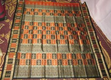 Orissa Handloom Box and Doll Border and Aanchal Bomkai Saree Sari in Rust Color