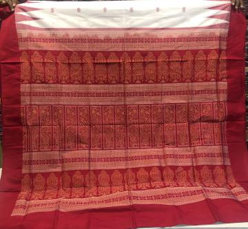 Temple border white and Red Bomkai Silk Saree with Blouse Piece