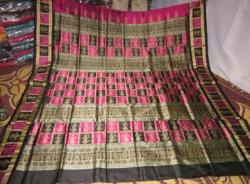 Orissa Handloom Box and Doll Border and Aanchal Bomkai Saree Sari in Magenta Color
