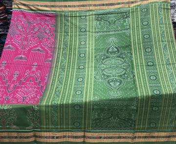 Traditional motifs all over Ikat weave Cotton Saree with Blouse Piece