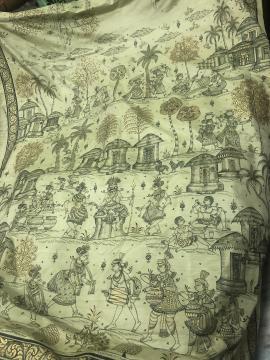 Village Theme Skirt Border work Pattachitra Hand Painted Silk Saree with Blouse Piece
