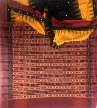 Fish motifs Aanchal temple motifs n butis Body Ikat and Bomkai work Cotton saree with Blouse Piece