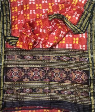 All over Ikat Work Traditional Khandua Silk Saree without Blouse Piece