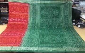 Tribal Village Theme Cotton Ikat Saree with Blouse Piece