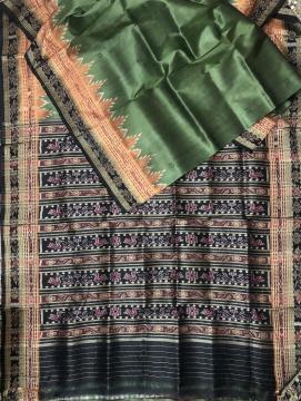 Triple Border Traditional Aanchal Ikat Khandua silk saree without Blouse Piece