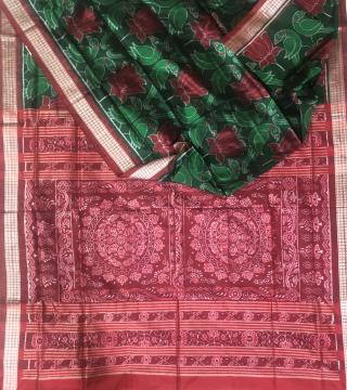 Exclusively woven parrot and Lotus motifs Ikat Silk Saree with Blouse piece