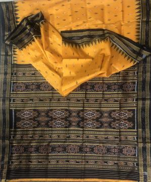All over Ikat work Traditional Khandua Silk Saree without Blouse Piece