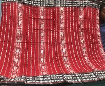 Red and black all over woven Cotton Habashpuri Saree with Blouse Piece