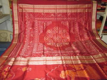 Orissa handloom Ikat work Dancer design Saree Sari in Maroon-Rust