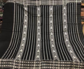 Plain body with border and Aanchal work Black Cotton Habaspuri saree with blouse piece