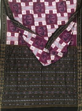 Exclusively Woven all over traditional fish and flower motifs Ikat Cotton Saree with Blouse Piece