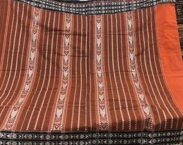 Border and Aanchal work with plain body Orange colors Habaspuri Cotton Saree