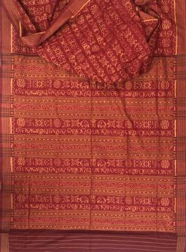 Master weaver s creation Mahalaxmi Mantra Scripted in Odiya Cotton Silk Saree with Blouse Piece