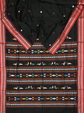 Exclusively woven Bird motifs Bomkai Cotton Saree with Blouse Piece