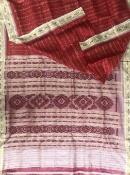 All over Ikat work Flower motifs Khandua Silk Saree without Blouse piece