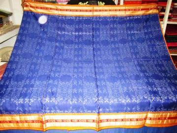Orissa Handloom Ikat Body and Bomkai Aanchal Saree Sari