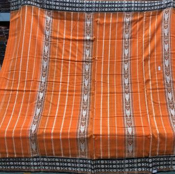 All over work Bright Orange Cotton King Habaspuri Saree