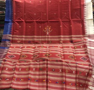 Ganga Jamuna Border Siminoi and Ganjam Bomkai inspired Tasar Silk Saree with Blouse piece
