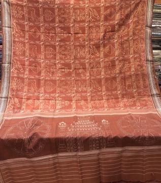 Master weaver s creation Nabakothi Inspired vegetable Dyed Light weight Ikat Silk Saree with Blouse