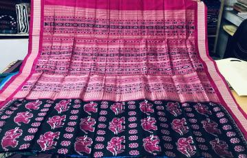Hand woven Elephant and Flower Motifs Silk Ikat Saree with Blouse Piece