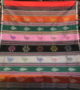 Ganga Jamuna Border Bird fish flower motifs Berhampuri Silk Saree with Blouse Piece