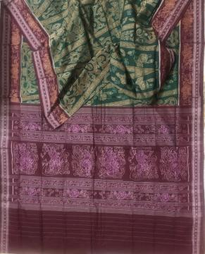 Rose motifs border with rose n dancer motifs all over Ikat work Cotton Saree with Blouse Piece
