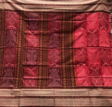 Exclusively woven All over fish motifs cotton Ikat Saree with Blouse Piece